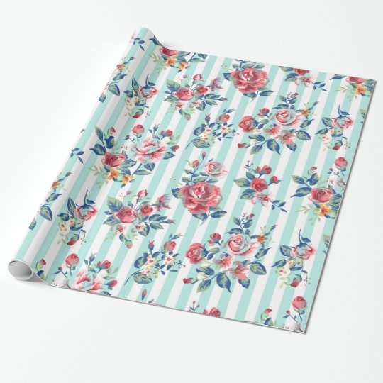 Beautiful trendy girly vintage blue stripes roses wrapping