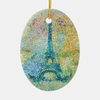 Beautiful trendy girly vintage Eiffel Tower France Ceramic Oval Decoration