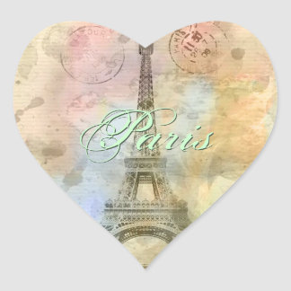 Beautiful trendy girly vintage Eiffel Tower France Heart Sticker