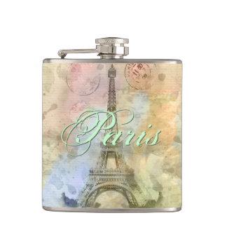 Beautiful trendy girly vintage Eiffel Tower France Hip Flask