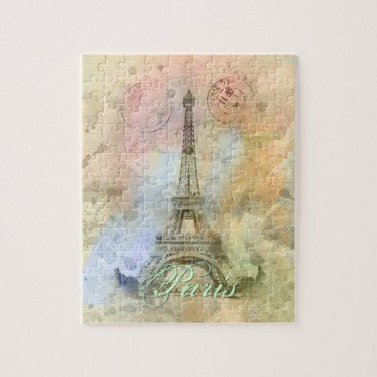 Beautiful trendy girly vintage Eiffel Tower France Jigsaw