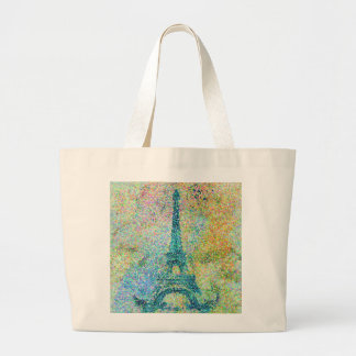 Beautiful trendy girly vintage Eiffel Tower France Large Tote Bag