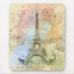 Beautiful trendy girly vintage Eiffel Tower France Mousepads