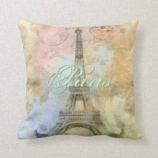 Beautiful trendy girly vintage Eiffel Tower France Throw Pillow