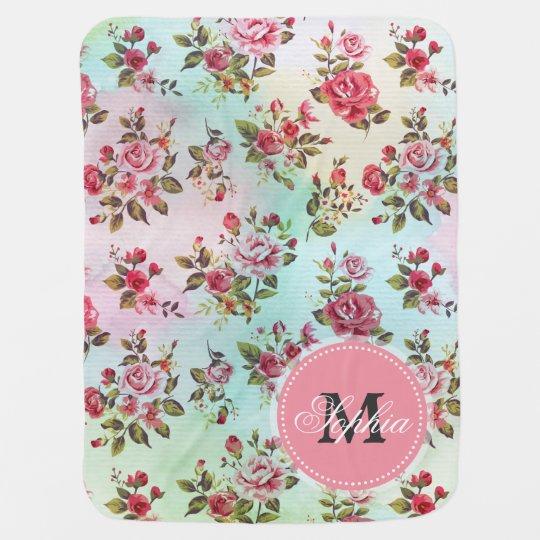 Beautiful trendy girly vintage monogram roses baby blanket
