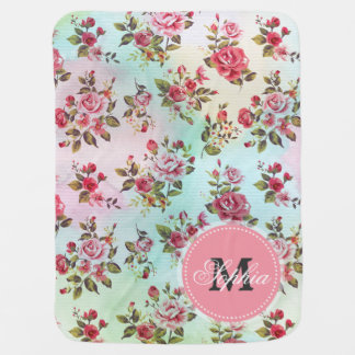 Beautiful trendy girly vintage monogram  roses buggy blanket