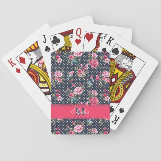 Beautiful trendy girly vintage monogram roses playing cards