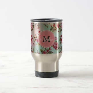 Beautiful trendy girly vintage monogram  roses travel mug