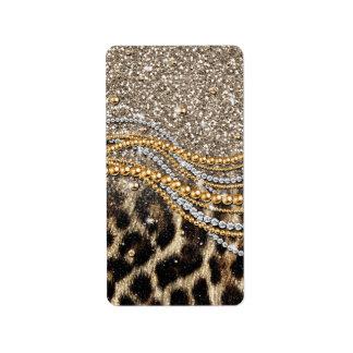 Beautiful trendy leopard faux animal print address label