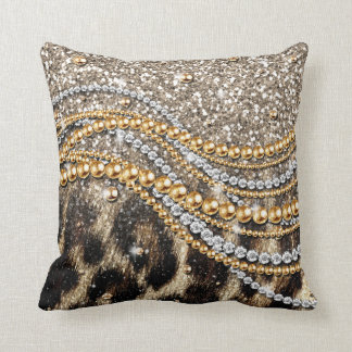 Beautiful trendy leopard faux animal print cushion