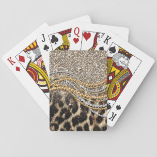 Beautiful trendy leopard faux animal print playing cards