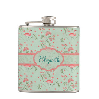 Beautiful trendy vintage floral and flamingo birds hip flask