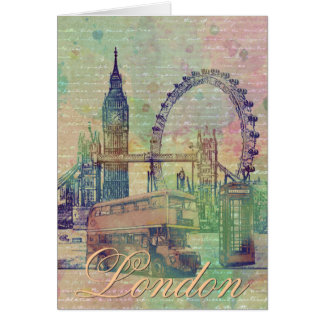 Beautiful trendy Vintage London Landmarks Card