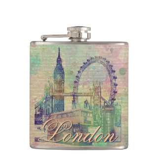 Beautiful trendy Vintage London Landmarks Hip Flask