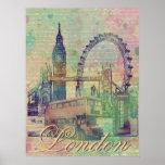 Beautiful trendy Vintage London Landmarks Poster