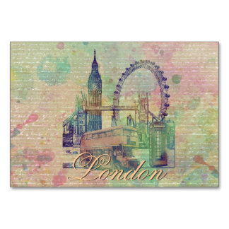 Beautiful trendy Vintage London Landmarks Table Card
