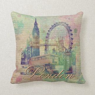Beautiful trendy Vintage London Landmarks Throw Pillow