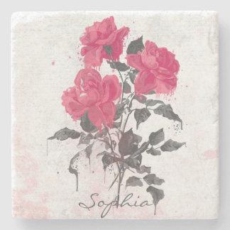 Beautiful trendy vintage watercolors roses stone beverage coaster