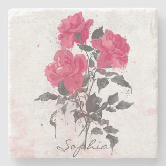 Beautiful trendy vintage watercolors roses stone coaster