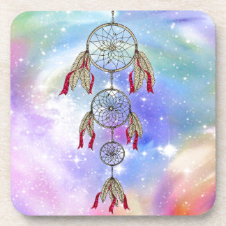 Beautiful trendy whimsical  dream-catcher feathers drink coasters