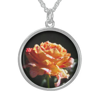 Beautiful Tri-color Rose, Sterling Silver Necklace