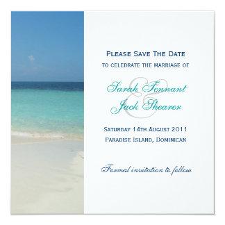 Beautiful Tropical Beach Save The Date Custom Invitation