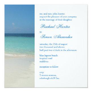 Beautiful Tropical Beach Wedding Invitiation 13 Cm X 13 Cm Square Invitation Card