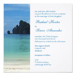 Beautiful Tropical Beach Wedding Invitiation 2 13 Cm X 13 Cm Square Invitation Card