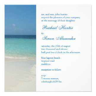 Beautiful Tropical Beach Wedding Invitiation Custom Announcement