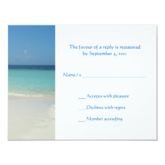 Beautiful Tropical Beach Wedding Invitiation RSVP 11 Cm X 14 Cm Invitation Card