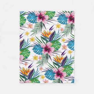 Beautiful tropical floral paint watercolors fleece blanket