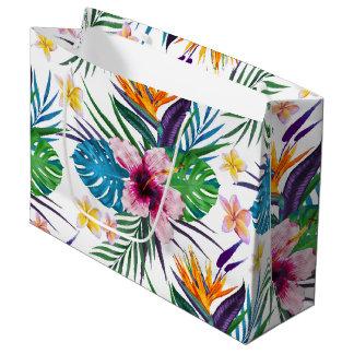 Beautiful tropical floral paint watercolors large gift bag