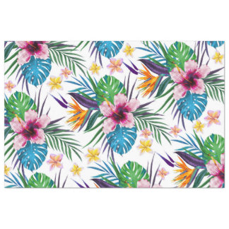 Beautiful tropical floral paint watercolors tissue paper