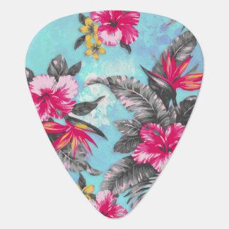 Beautiful tropical floral paint watercolours guitar pick