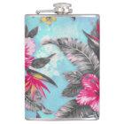 Beautiful tropical floral paint watercolours hip flask