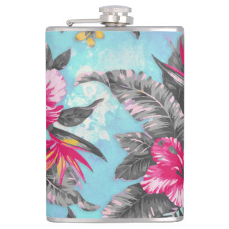 Beautiful tropical floral paint watercolours hip flask