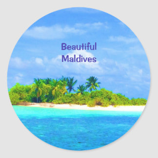 Beautiful Tropical Island in the Maldives Classic Round Sticker