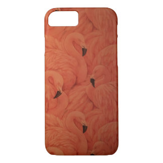Beautiful Tropical Pink Flamingos, iPhone Case