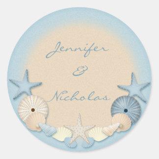 Beautiful Tropical Theme Beach Shells Round Sticker