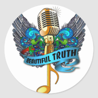 Beautiful Truth Microphone and Note Classic Round Sticker