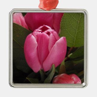 Beautiful Tulip Silver-Colored Square Decoration
