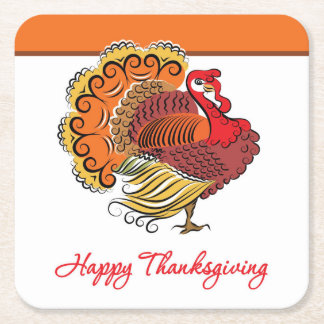 Beautiful Turkey Thanksgiving Disposable Coaster