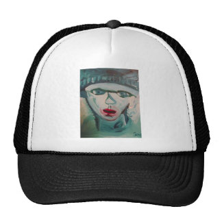 Beautiful turquois blue winter woman with red lips cap