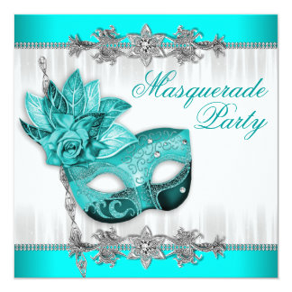 Beautiful Turquoise Blue Masquerade Party Card