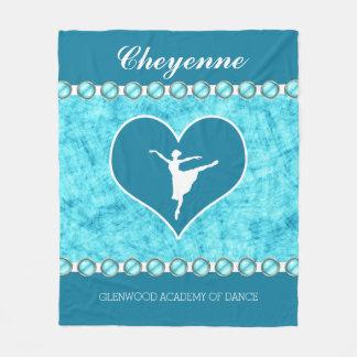 Beautiful Turquoise Dancer with Monogram Fleece Blanket