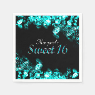 Beautiful Turquoise Diamond Sweet 16 Napkin Paper Serviettes