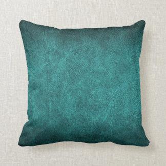 Beautiful Turquoise Old World Faux Leather Cushion