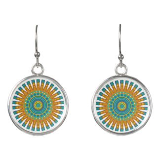 Beautiful Turquoise & Orange Mandala Earrings