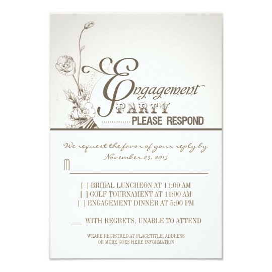 beautiful typography engagement party RSVP Card