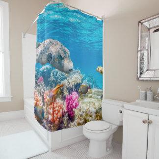 beautiful underwater fish world, wather shower curtain